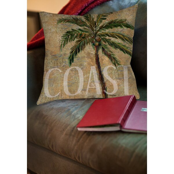 Coastal Palm Postcard Printed Throw Pillow by Manual Woodworkers & Weavers