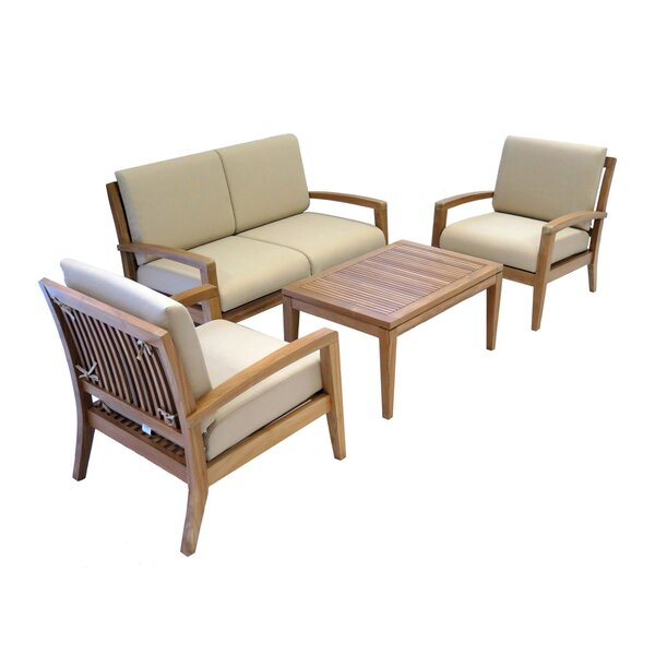 Luciana 4 Piece Teak Sofa Seating Group with Cushions by Rosecliff Heights