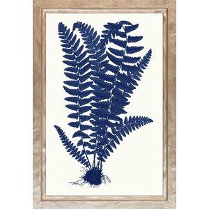 Blue Silhoutte Ferns Framed Graphic Art by Art Virtuoso