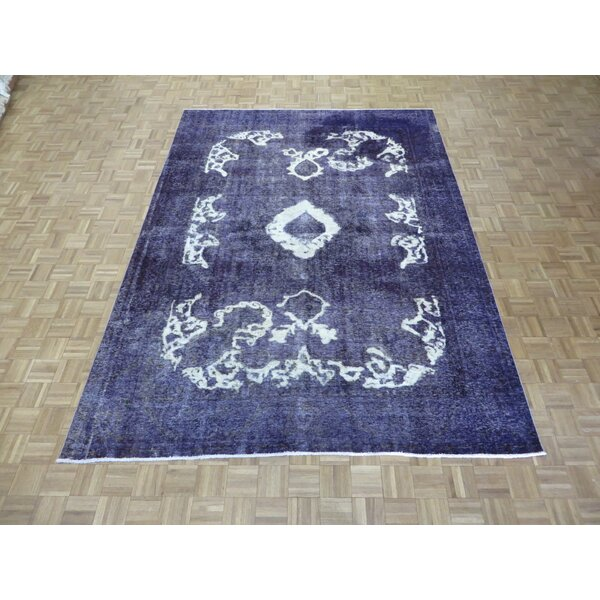One-of-a-Kind Padro Hand-Knotted Wool Purple Area Rug by Bloomsbury Market