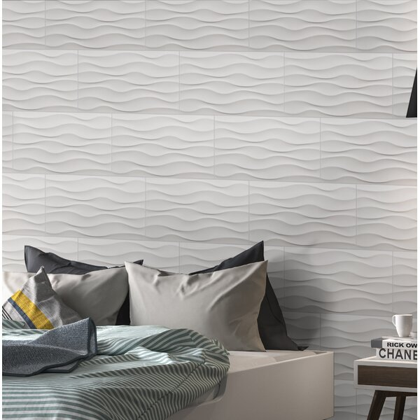 Dymo Wavy 12 x 24 Ceramic Field Tile in White by MSI