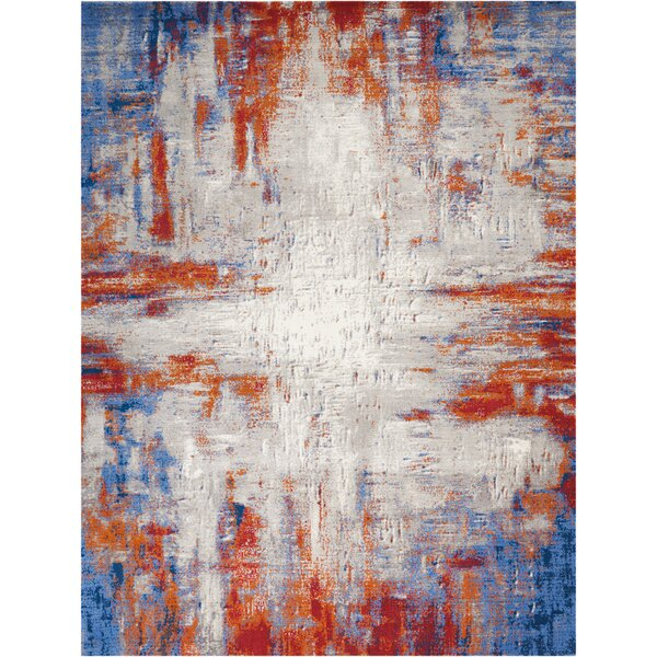Makela Abstract Ivory/Blue/Red Area Rug by Ivy Bronx
