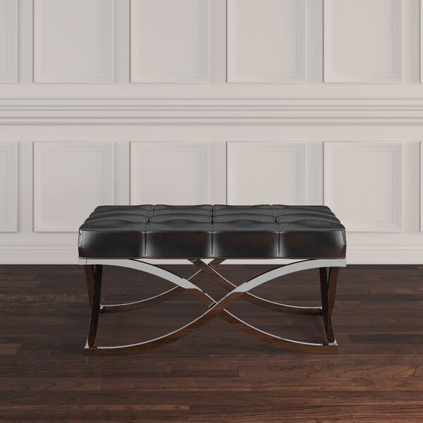 Faux Leather Gilham Tufted Ottoman by House of Hampton