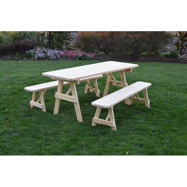 Seward Solid Wood Picnic Table Set by Loon Peak