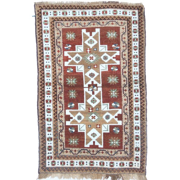 One-of-a-Kind Turkish Fine Kars Hand-Woven Wool Brown/Ivory Area Rug by Exquisite Rugs