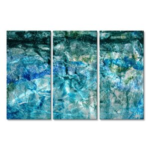 'Deep Sea' by Michele Morata 3 Piece Painting Print Plaque Set by All My Walls