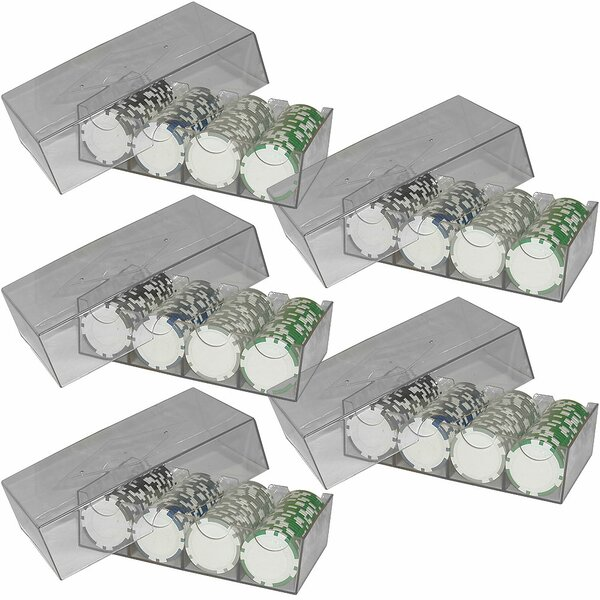 Lot of 5 Clear Storage Boxes for Poker chips by Trademark Global