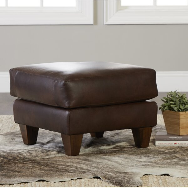 Session Leather Ottoman By Millwood Pines