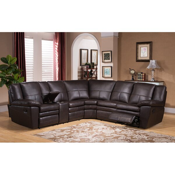 Oregon Leather Reclining Sectional by Amax