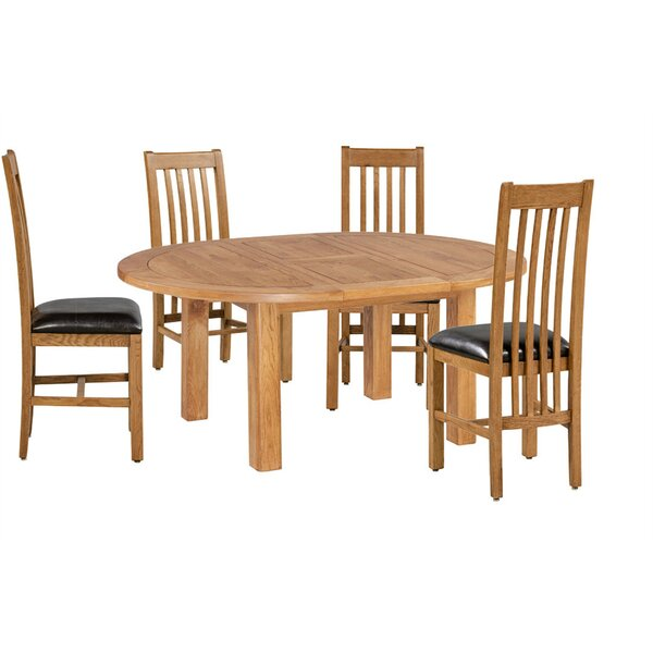 Covarrubias 5 Piece Extendable Solid Wood Dining Set by Loon Peak