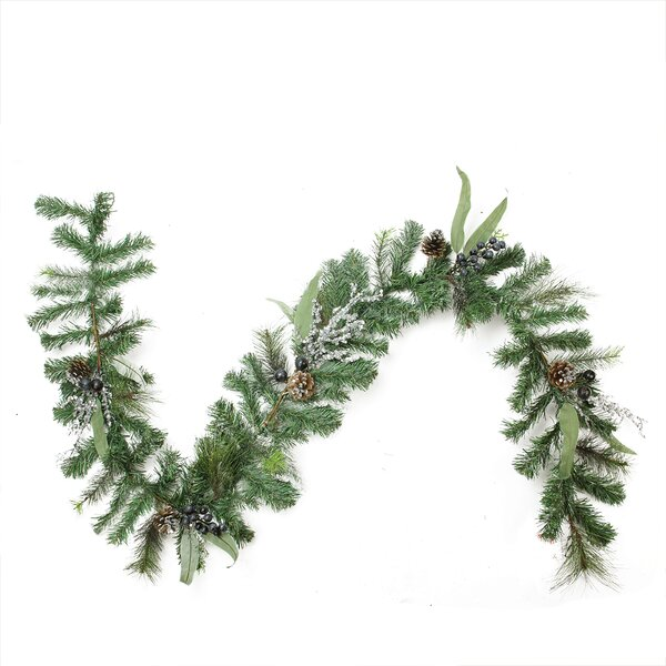 Artificial Mixed Pine with Blueberries, Pine Cones and Ice Twigs Christmas Garland - Unlit by Northlight Seasonal