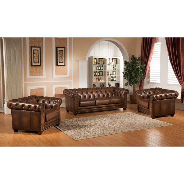 Dusty 3 Piece Leather Living Room Set by Canora Grey