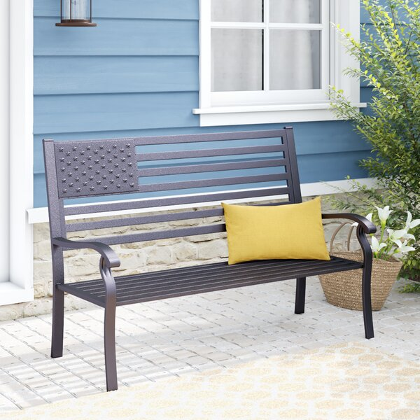 Lisabeth American Pride Flag Metal Garden Bench by Red Barrel Studio