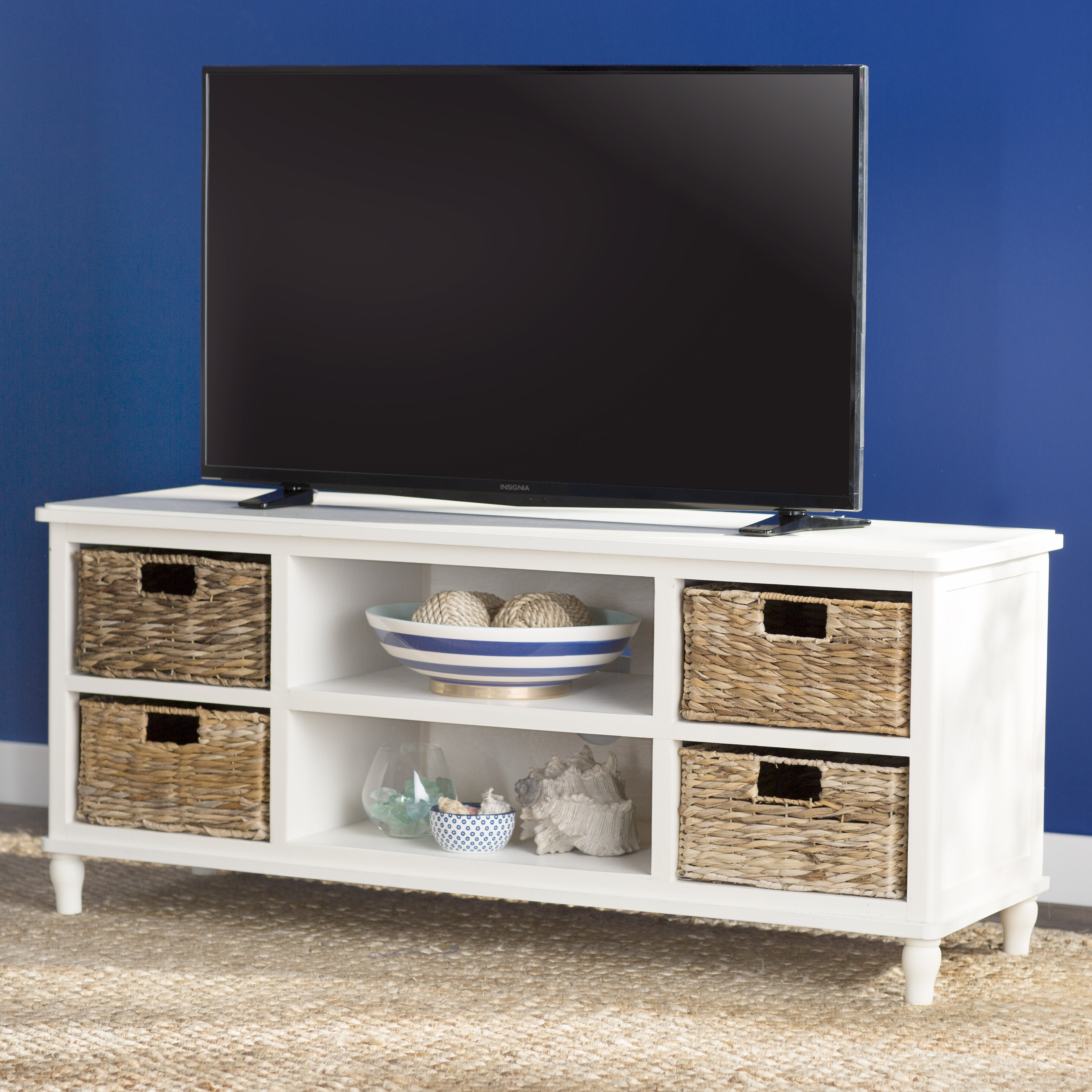 Wall TV Retro Stand Wooden Entertainment Console Table 3-Drawer Furniture Gray