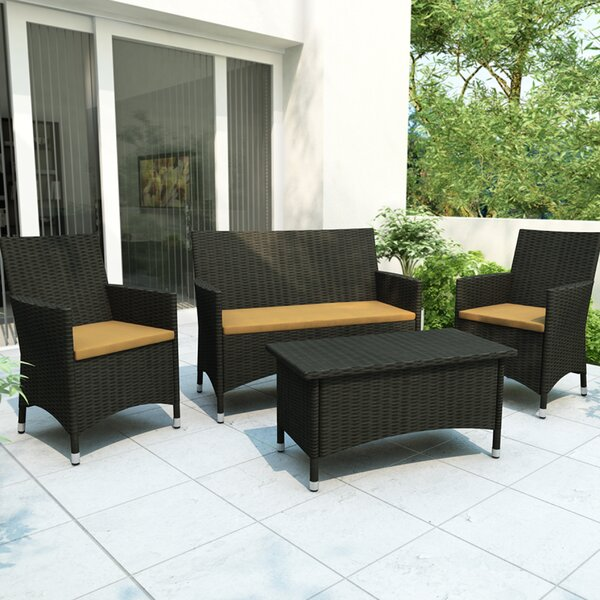 Windemere 4 Piece Rattan Sofa Seating Group with Cushions by Wrought Studio