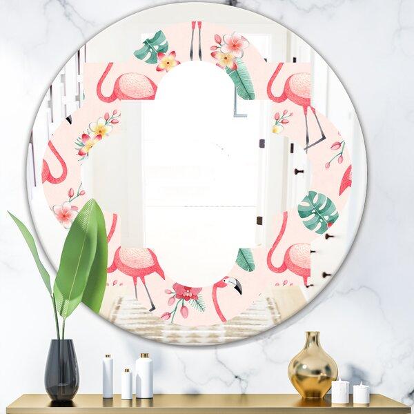 Quatrefoil Tropical Botanicals, Flowers and Flamingo II Coastal Frameless Wall Mirror