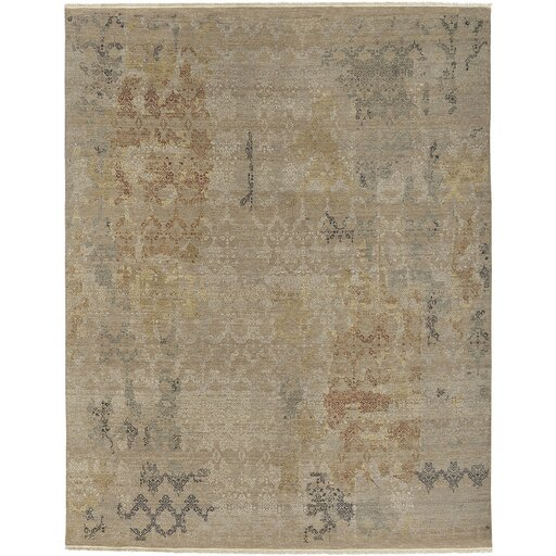 Wabe Hand-Knotted Khaki Area Rug by Bungalow Rose