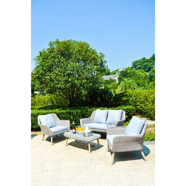 Davion 4 Piece Conversation Set with Cushions by Rosecliff Heights