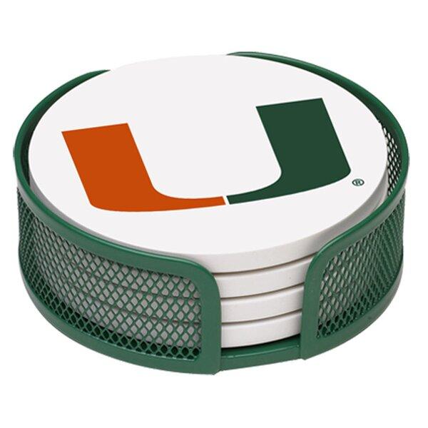 5 Piece University of Miami Collegiate Coaster Gift Set by Thirstystone