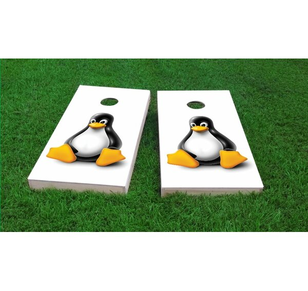 Tux The Linux Mascot Light Weight Cornhole Game Set by Custom Cornhole Boards