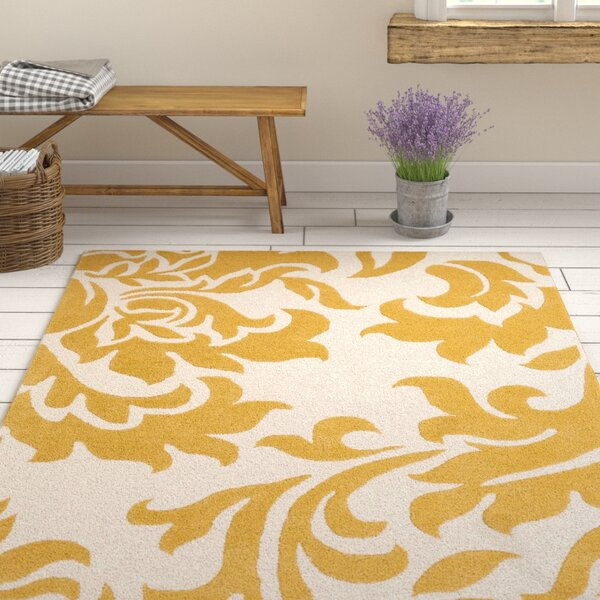 Kiesel Hand-Tufted Gold/Off-White Area Rug by Ophelia & Co.