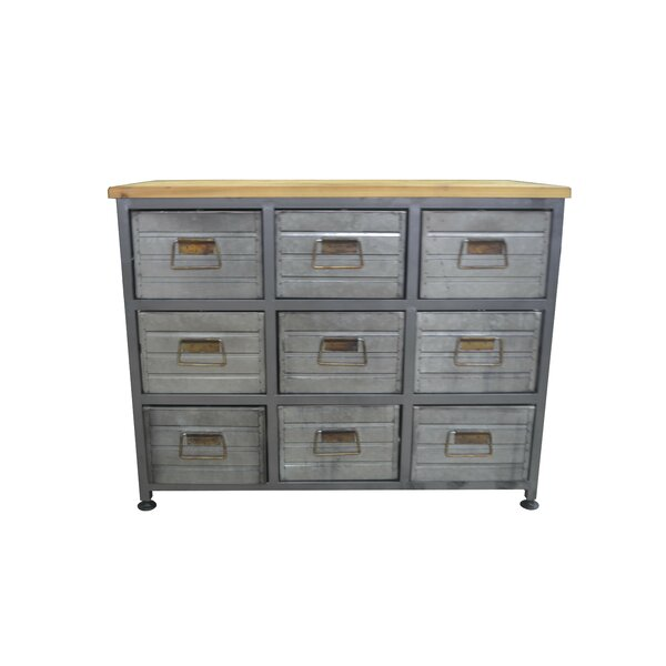 Riendeau Aged Metal and Wood 9 Drawers Accent Chest by Williston Forge