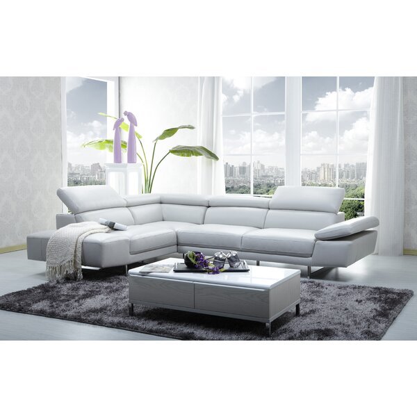 Fine Quality Ashburton Leather Sectional by Orren Ellis by Orren Ellis