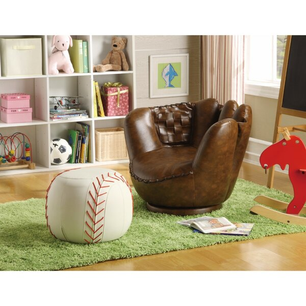 Kitts Baseball Glove Armchair and Ottoman by Zoomie Kids