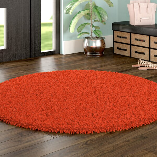 Baugh Shag Chenille Orange Area Rug by Ebern Desig