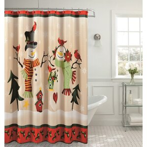 christmas holly bird shower curtain