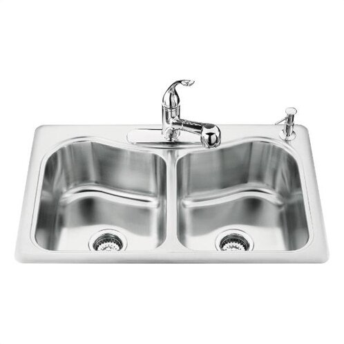 Staccato 33 L x 22 W x 8-5/16 Top-Mount Double-Equal Bowl Kitchen Sink with 4 Faucet Holes by Kohler