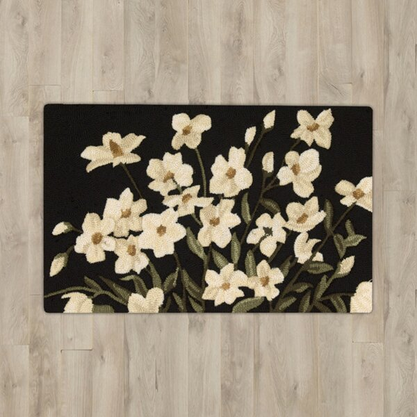Stella Black Floral Area Rug by August Grove