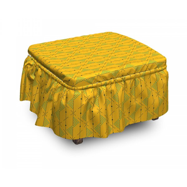 Geometric Dots Lines Ottoman Slipcover (Set Of 2) By East Urban Home