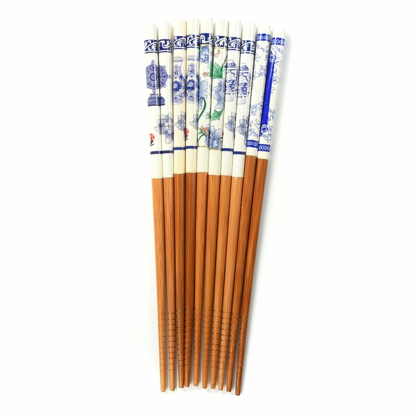 Wellsboro 10 Piece Traditional Wood Chinese Chopstick Set by Bloomsbury Market
