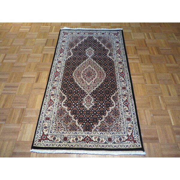 One-of-a-Kind Raiden Hand-Knotted Black/Ivory Area Rug by Astoria Grand