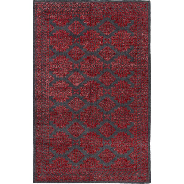 One-of-a-Kind Logston Hand-Knotted Red Area Rug by Rosdorf Park