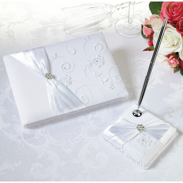 Lace Guest Book and Pen Set by Lillian Rose