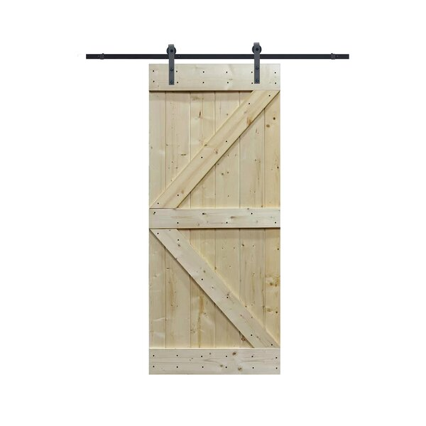 Solid Wood Panelled Knotty Pine Slab Interior Barn Door by TMS
