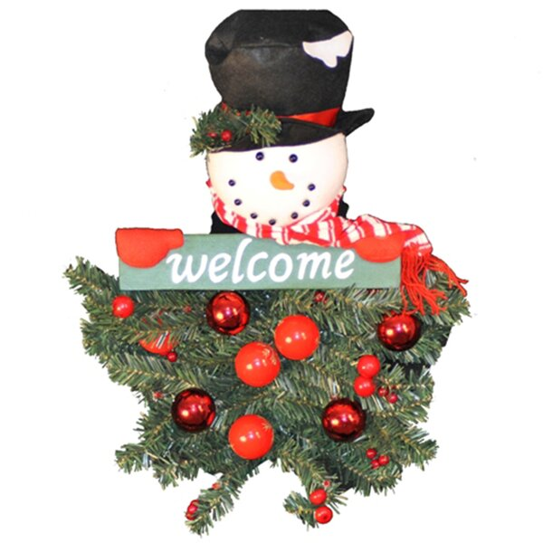 Battery Operated Snowman Hanging Welcome Arrangeme