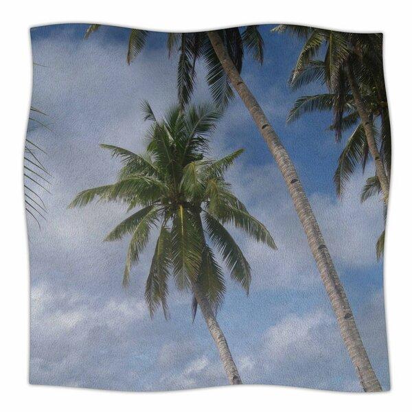 Susan Sanders Sky Ocean Palm Trees Photography Fleece Throw by East Urban Home