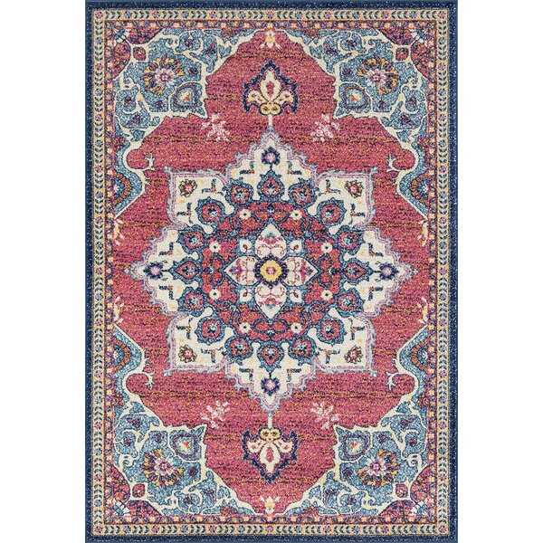 Dierks Blue/Red Area Rug by Bungalow Rose