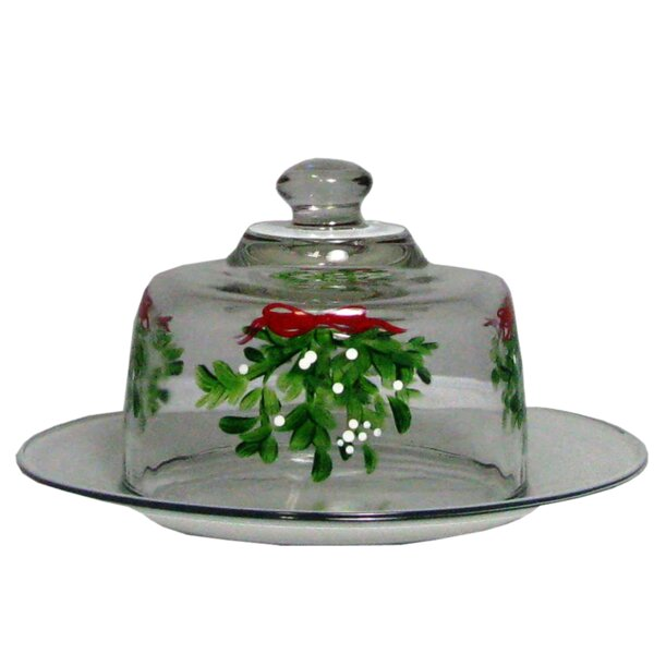 Drouin Mistletoe Cheese Dome Cake Stand by The Holiday Aisle