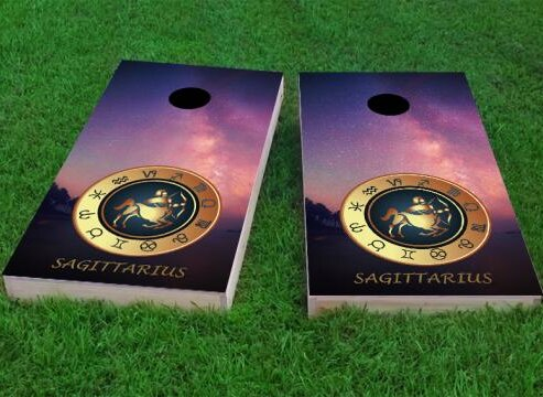 Zodiac Stars Sagittarius Themed Cornhole Game (Set of 2) by Custom Cornhole Boards
