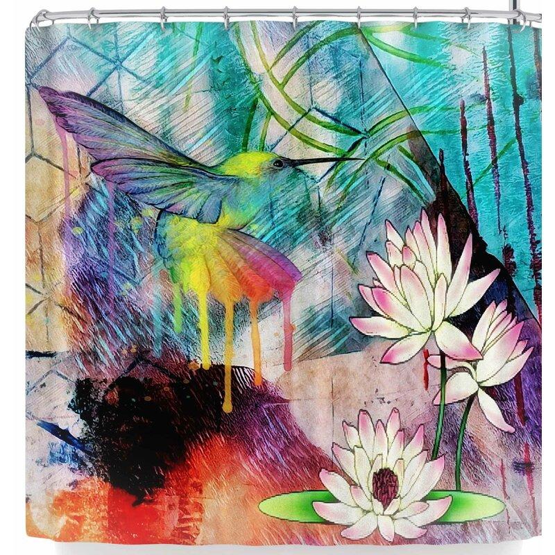 Alyzen Moonshadow Hummingbird With Lotus Shower Curtain