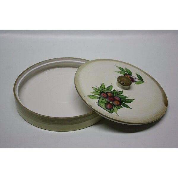 Round Ceramic Pita Bread Serving Tray with Lid by Desti Design