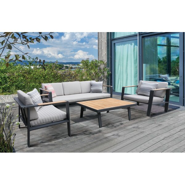 Lucian 4 Piece Teak Sofa Seating Group with Cushions by Wrought Studio
