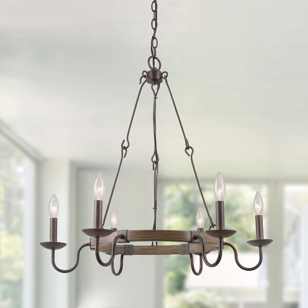 Hilderbrand 6-Light Candle Style Wagon Wheel Chandelier By Gracie Oaks