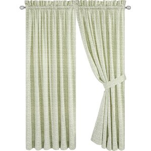 Breckan Tailored Plaid & Check Semi-Sheer Rod Pocket Curtain Panels (Set of 2)