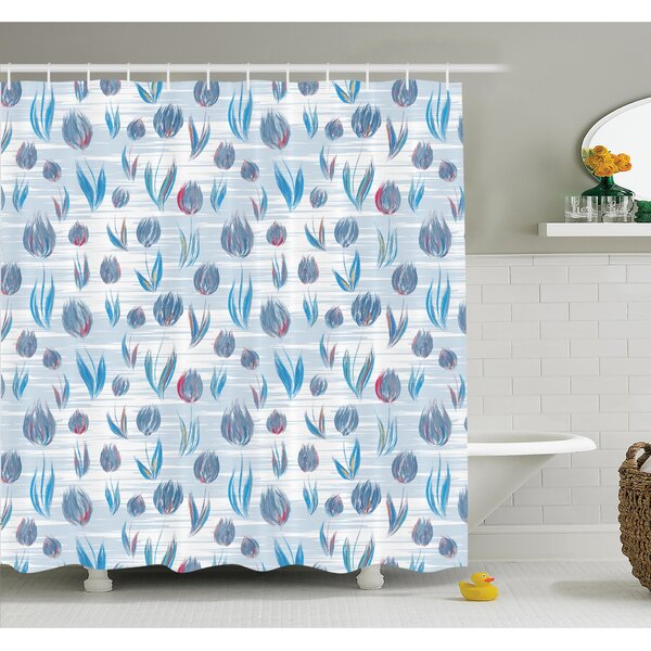 Floral Painting Effect Tulips Shower Curtain Set by Ambesonne