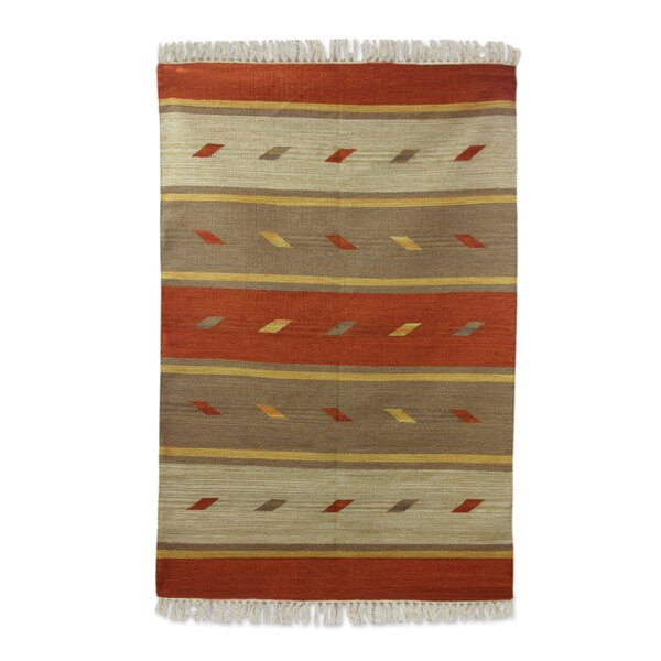 Hand Woven Gold/Brown Area Rug by Novica